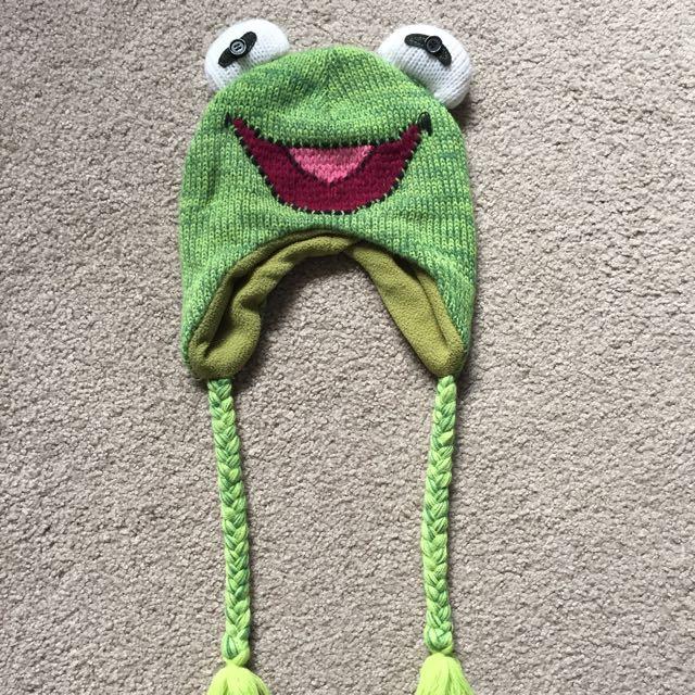 Kermit The Frog Disney Beanie - Green Winter Beanie Muppets Disneyland