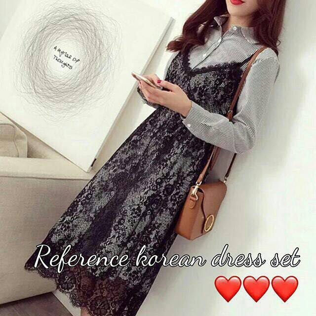 Korean Dress Set Warna Grey