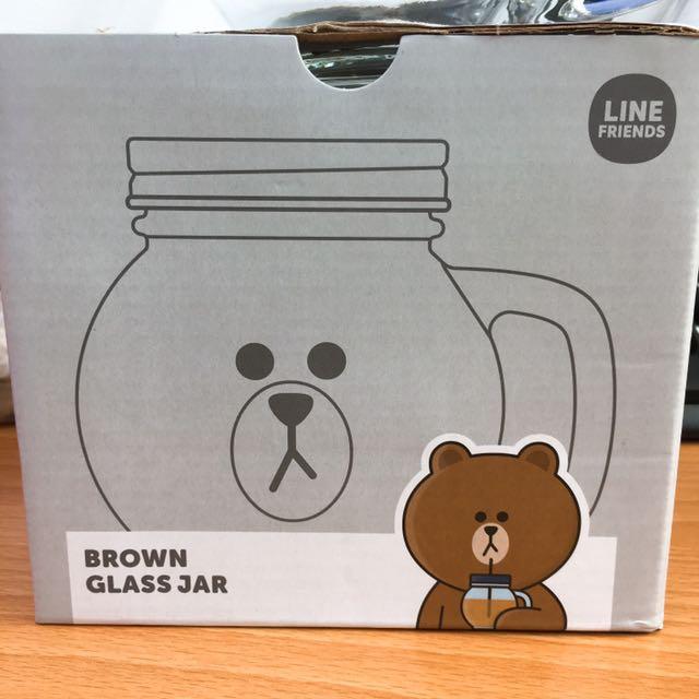 Line熊大造型玻璃罐(附兩款蓋子,其中一款可插吸管)