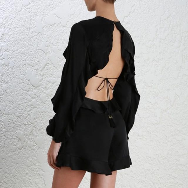 Luxe Range BNWT Lou Winsome Flutter Silk-Satin Playsuit *ZIMMERMANN Style (RRP $255-495)🇦🇺