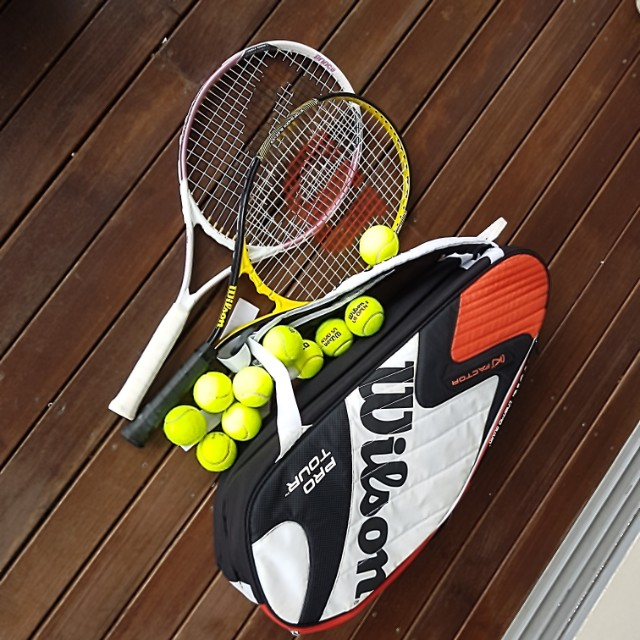 Mens and womens tennis rackets with balls and bag, Sports, Sports & Games  Equipment on Carousell
