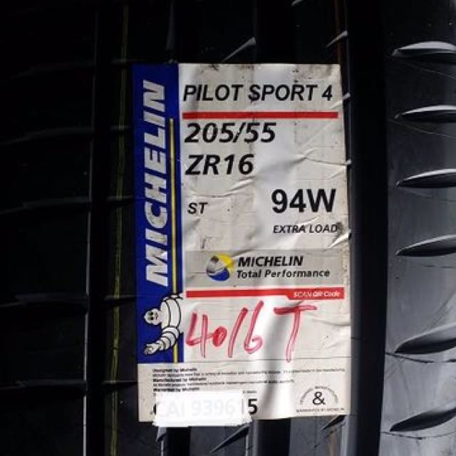 Michelin ps4 205/55/16 dot2019 thailand
