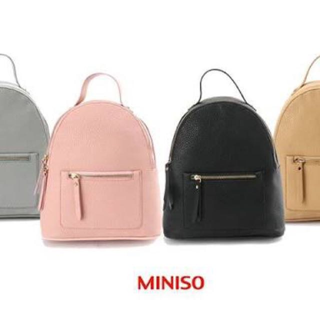 Miniso black backpack, Preloved Women's Fashion, Bags ...