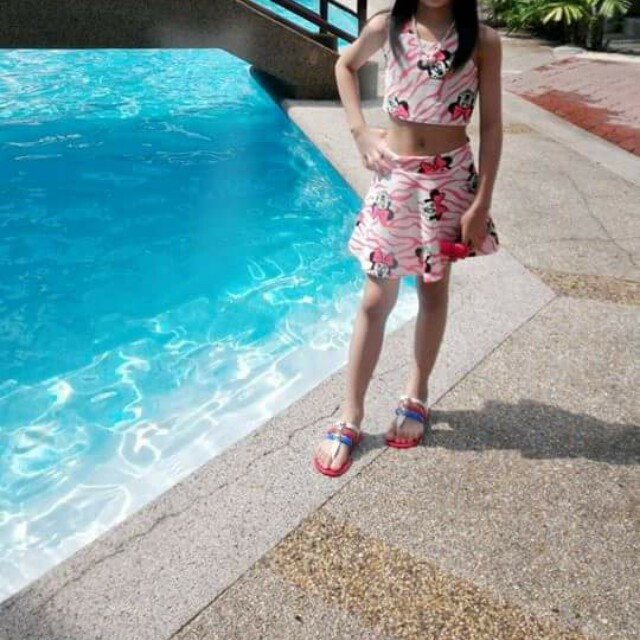 minnie mouse terno crop top and skater set