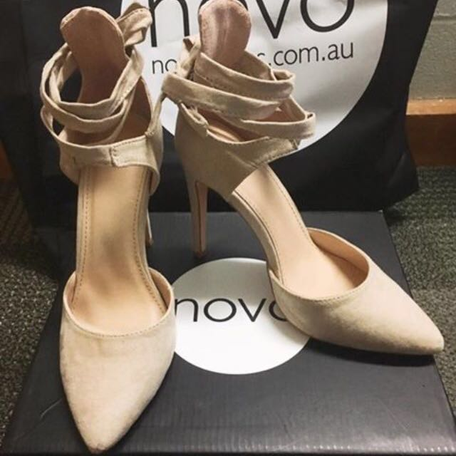 New Novo Lace Up Nude Pointed Toe High Heel size 5