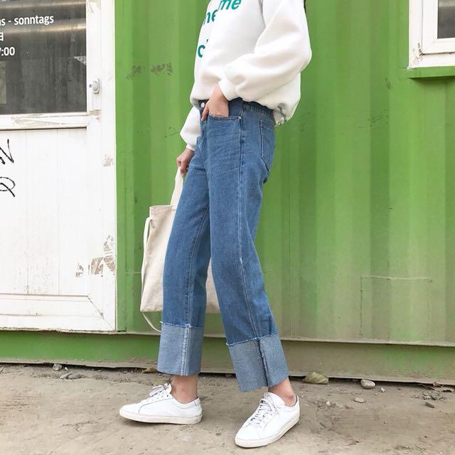 (現貨S*1)捲邊直筒牛仔褲