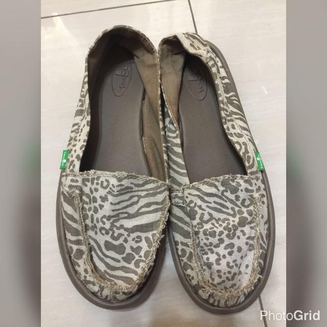 Sanuk豹紋鞋/懶人鞋 USA8 39號