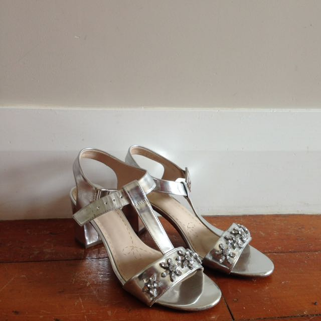Silver clarks shoes