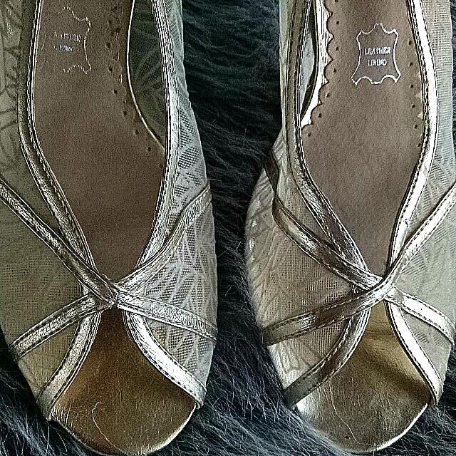 Size37 Lace And Leather Nude Shoes Used Once To Match Dress As Can Be Seen From Clean Heels. Gorgeous One For The Races Or Wedding Or Spl Occasion