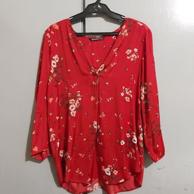 Stradivarius XL Red Silk Top