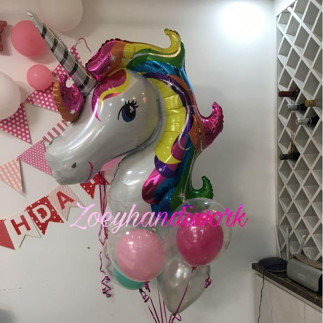 Unicorn Balloon Cluster Happy Birthday Balloon Wall Decoration