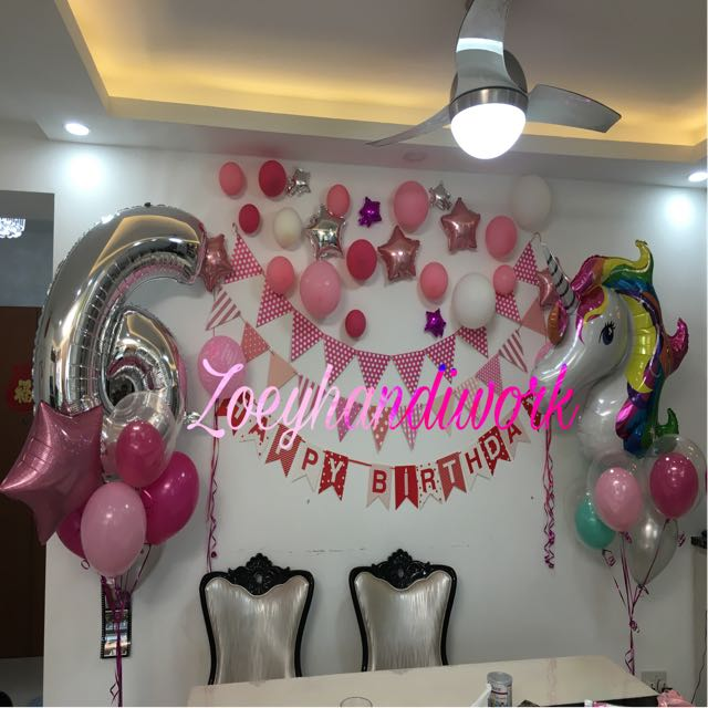 Unicorn Balloon Cluster Happy Birthday Wall Decoration Design Craft Art Prints On Carousell
