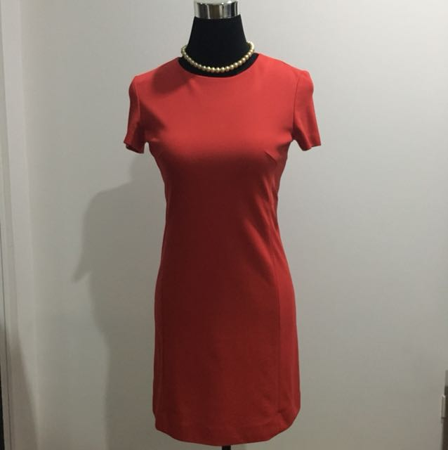 Uniqlo Red Structure Pencil cut midi dress