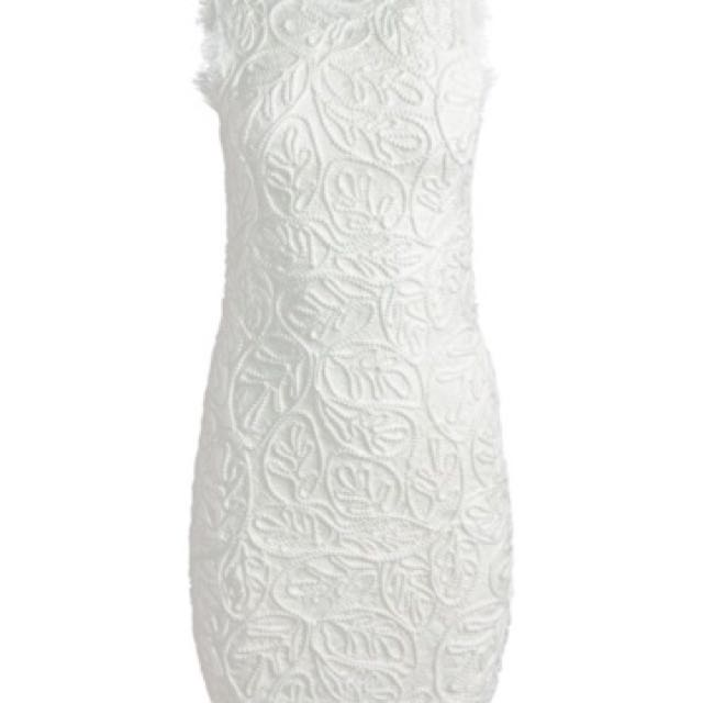 Womens 12 Lace Embroidered White Sans Souci Dress