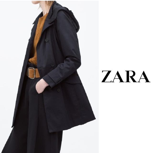 af27f6479 ZARA | Waterproof Navy Trench Coat with Hood, Women's Fashion, Clothes,  Outerwear on Carousell