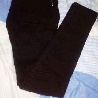 Punny High Waist Black Pants with Side zipper