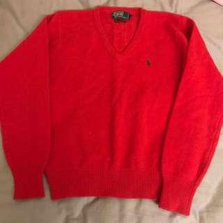 Ralph Lauren polo 羊毛毛衣 紅色 古著