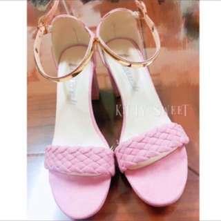 現貨39/粉色編織一字扣低跟鞋 5-6cm