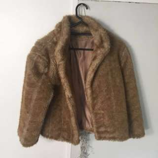Vintage Look Faux Fur Coat