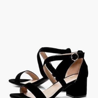 Cross Strap Low Block Heel from Boohoo