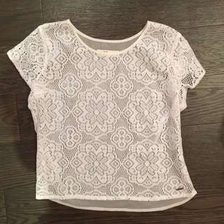 Sheer white lace top