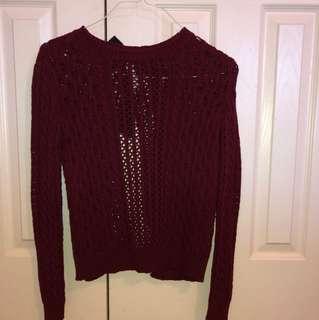 Burgundy Open Back Knit Sweater