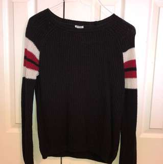 Black Knit Sweater with Stripes on Arm
