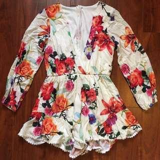 Long-Sleeve Floral Playsuit Romper