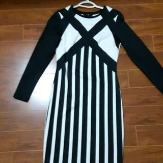 H&M Black and White Striped Dress