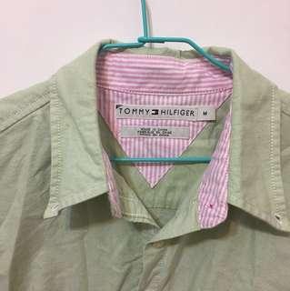 Tommy綠色長袖襯衫