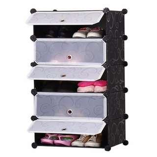 DIY 1 x 5 Cube Shoe Rack Wardrobe Box Storage Closet Organizer Cabinet with Doors (Black)