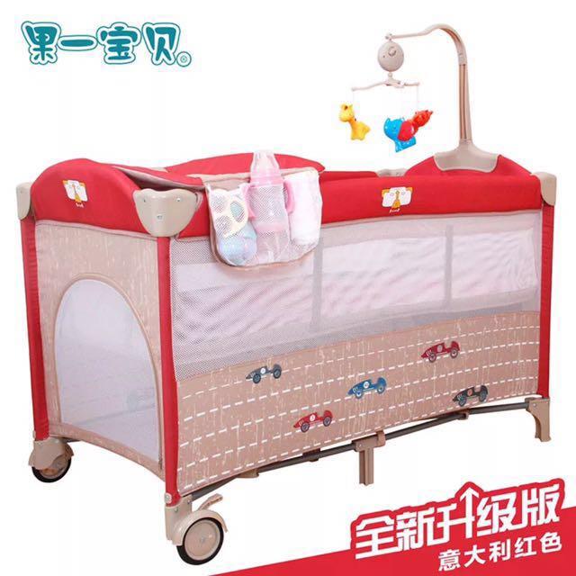 10月特惠送床墊 意大利紅 全新多功能嬰兒床 遊戲床 #不刷卡包郵