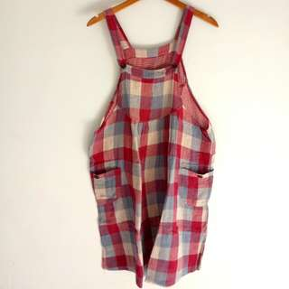 Overall Square Skirt Red Blue