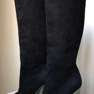 Camilla Suede Swarovski Printed Wedge Boots Size 38