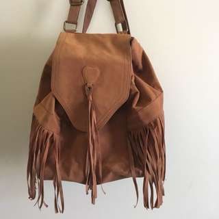 agent ninety-nine fringed bohemian tan/brown backpack