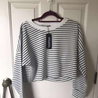 Boohoo Stripe Cropped Sweatshirt