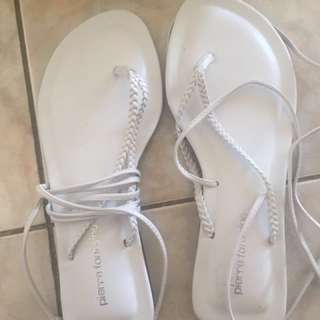 White Pierre Fontaine Wrap around Sandals (new)