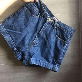 牛仔短褲/ 深藍