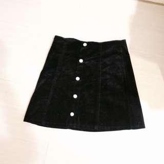 燈芯絨短裙/黑/貓曬