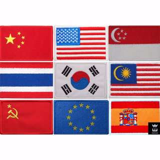 Premier Traveler World Globe Country Flag Embroidered Iron-On Patch Logo Design Accessory