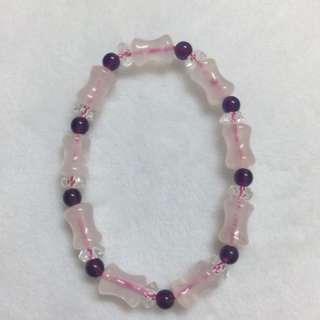 粉水晶三色手鏈
