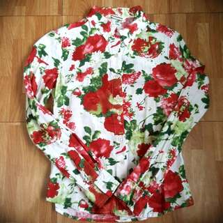 Mossimo floral long sleeves polo