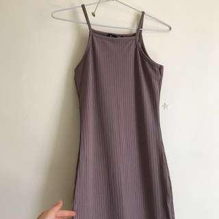 Straight neck taupe midi dress size 8 BNWT
