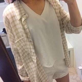 襯衫外套/黃綠線條