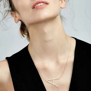 A-Z Intial Pendant Gold Necklace