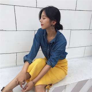 10/1  ᴡ ɪ ɴ 🎀長袖牛仔襯衫+高腰包臀裙針織裙