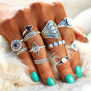 10pcs Knuckle Ring Set in Silver, or Gold