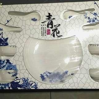 高尚典雅青花瓷器碗盤餐具套組禮盒/10件式碗盤餐具套組禮盒#幫我除舊佈新