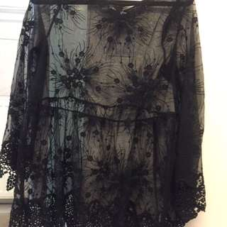 Black lace tunic