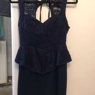 Peplum dress navy blue